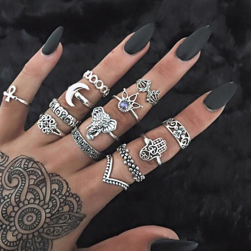 Bague Femme Vintage Rings for Women Boho Geometric Flower Crystal Knuckle Ring Set Bohemian Midi Finger Jewelry Silver Color 39