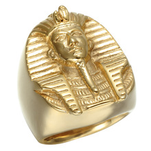 Large Big Gold Color Stainless Steel Egypt King Pharaoh Statue Exaggerated Men's Finger Rings(China)