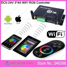 DC5V -24V 3*4A WiFi LED RGB Controller with RF Wireless Touch Remote,can be controlled by iPhone/iPad with Android or IOS system(China)