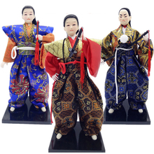 Japanese dolls Japanese samurai resin dolls humanoid doll Japanese home decoration doll holiday gift On Wooden Base ningdie