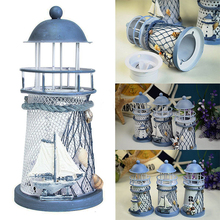 Fashion Lighthouse Iron Model Candle Holder Nautical Beach Ship Boat Design Candles Holder Home Garden Decors(China)