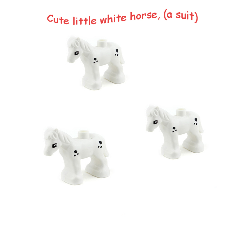 Duplo Animal Toys For Children  DIY Educational Gift Figures Blocks  Little White Horse City Friend Accessories Bricks Duploed