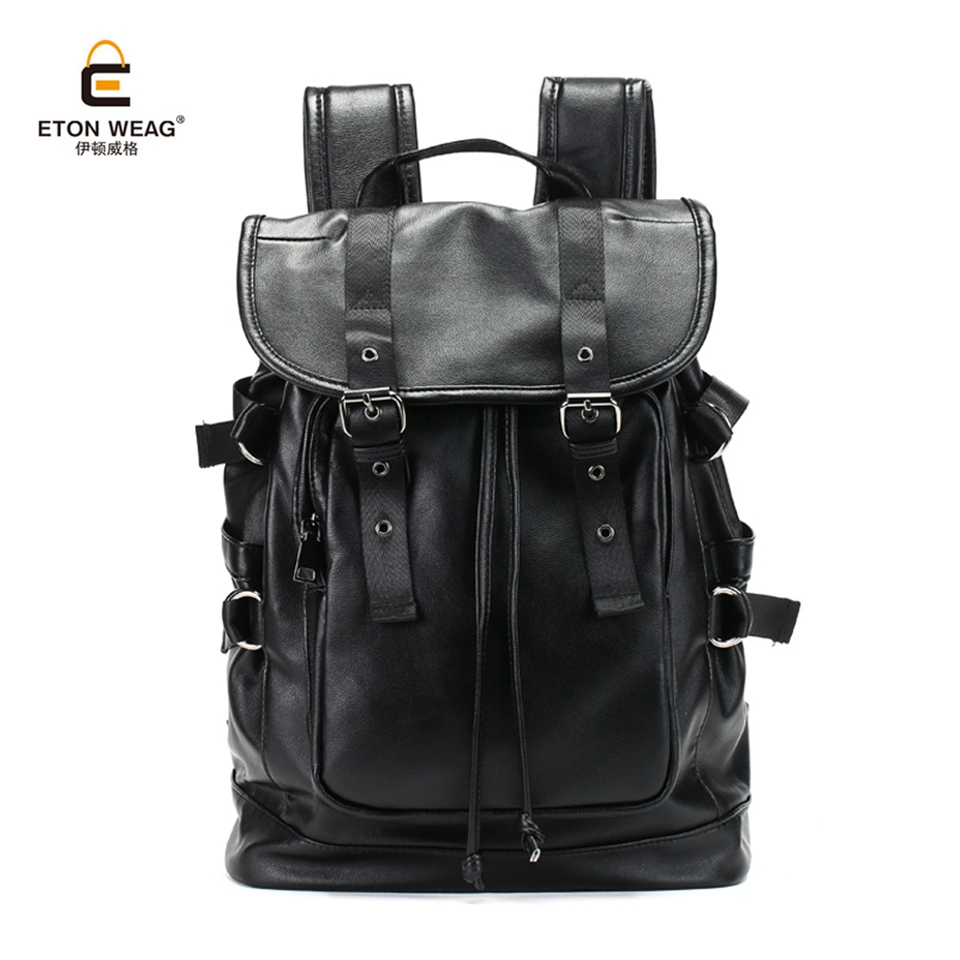 ETONWEAG 2017 Large Capacity Mens Durable Microfiber Synthetic Leather Backpack for Travel Bags Casual Men Laptop Backpack<br>