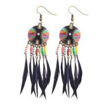 Women's Vintage Bohemian Boho Style Multicolor Beads&Feather Tassel Earrings Earrings Six Colors HQE216(China)