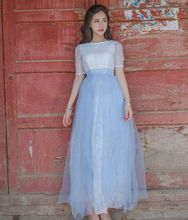 New Women dress Mesh Chiffon Slim Heavy Industry Grow A Large Place Dresses Blue Spell White 6002