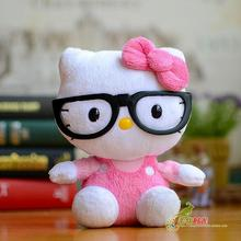 Hello Kitty  Plush Toy Black-Rimmed Glasses  KT Doll Children'S Toys Gifts