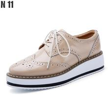 2017 New Brand Spring Women Platform Shoes Woman Brogue Patent Leather Flats Lace Footwear Female Flat Oxford Shoes Women