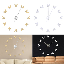 Silver Gold Acrylic Modern 3D Acrylic Silver  Butterflies Wall Clock Watches Hours DIY Home Art