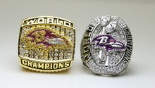 One Set 2 PCS 2000 2012 Baltimore Ravens super bowl Championship Ring 11 Size high quality in stock for sale .(China)