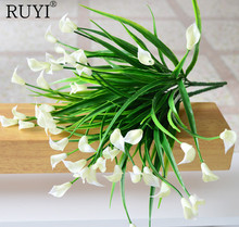 Artificial Mini lily silk flower simulation calla flower bouquet fake grass Aquatic plants for new home room decoration washable(China)