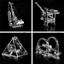 3D Metal assembly model Cable Car Roller coaster A pirate boat Amusement facilities Puzzle Toys Creative gifts Mountain bike(China)