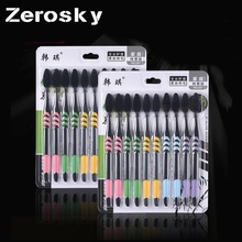 ZEROSKY 10PCS/Pack Double Ultra Soft Bamboo Charcoal Nano Toothbrush Black Tooth Brush Dental Personal Care Teeth Brush Black(China)