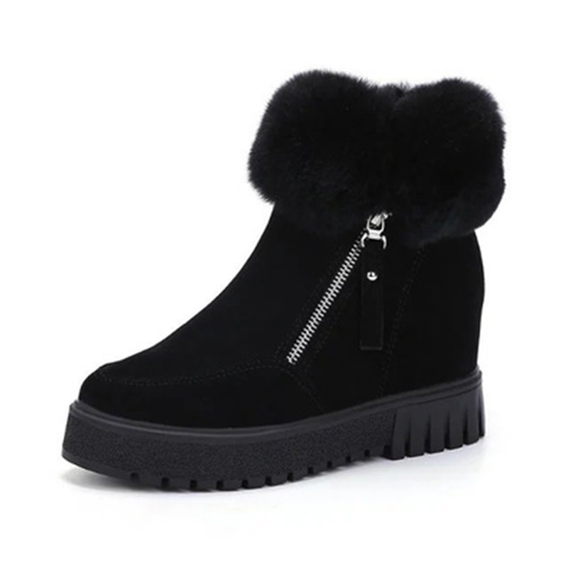 2017 Fashion Black PU Ankle Women Boots Casual Zip Short Women Snow Boots Warm Short Plush Winter Boots Women Shoes<br>