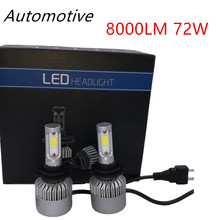 2Pcs Super Bright S2 COB Car LED Headlight 72W 8000LM Canbus H7 H1 H11 H4 Hi/Lo 9005 HB1 Headlamp Fog Light 12V Auto Replace HID