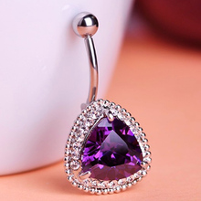 Luxury Brand Violetta Purple cubic Zircon Piercing Jewelry Fashion Women's Belly Button Rings Fashion Summer Style Steel Jewelry(China)