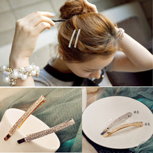 Fashion Korean Jewelry Accessories Lady Girls 2 Row Crystal Rhinestone Metal Hair Pin Clips Barrettes Hairpin Headwear HP055