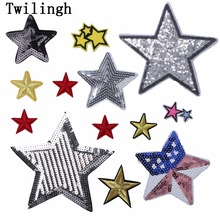 1 Pcs Patches Iron-on Sew-on Sliver Gold Star Embroidery Motif Applique Garment Children Women DIY Clothes Sticker Wedding Party