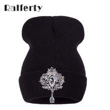 Ralferty Winter Women's Hats Luxury Crystal Accessory Headgear Beanie Hat For Women Caps Female Beanies bonnet femme gorros(China)