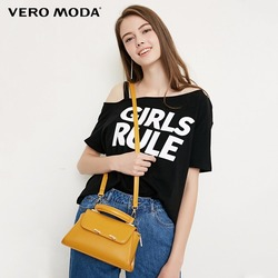 Женская футболка с принтом букв и открытыми плечами