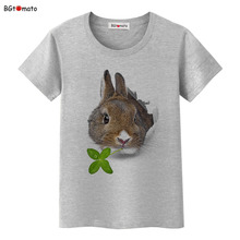 BGtomato Rabbit eating grass lovely 3D t shirts woman's super funny cute shirts Original brand cool tops hot sale