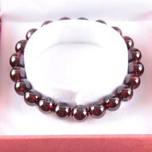 "Free Shipping Free Shipping Fine Jewelry 8MM AA 100% Natural Red Garnet Stretch Bracelet 7"" with Gift Box RJ032"