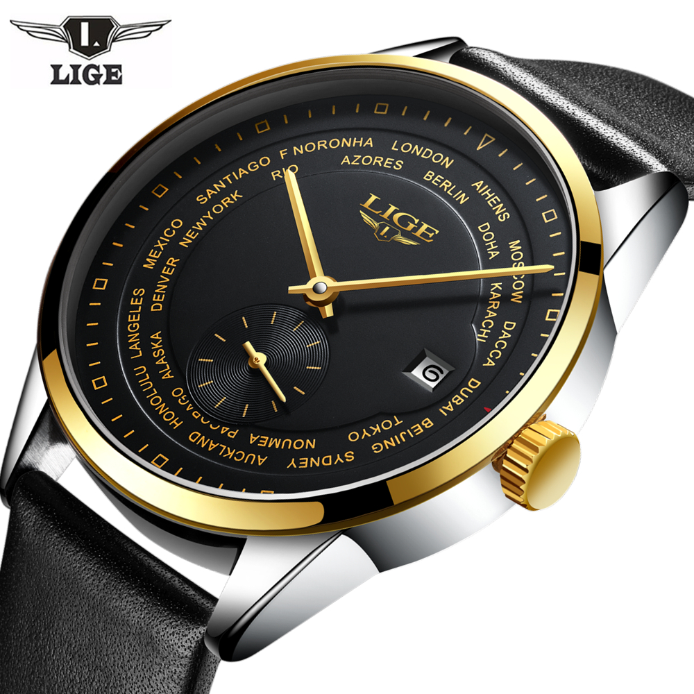 2017 Mens Fashion luxury brand LIGE Man Watch 5ATM Waterproof Casual Leather strap Male Mechanical Wristwatch Relogio Masculino<br>