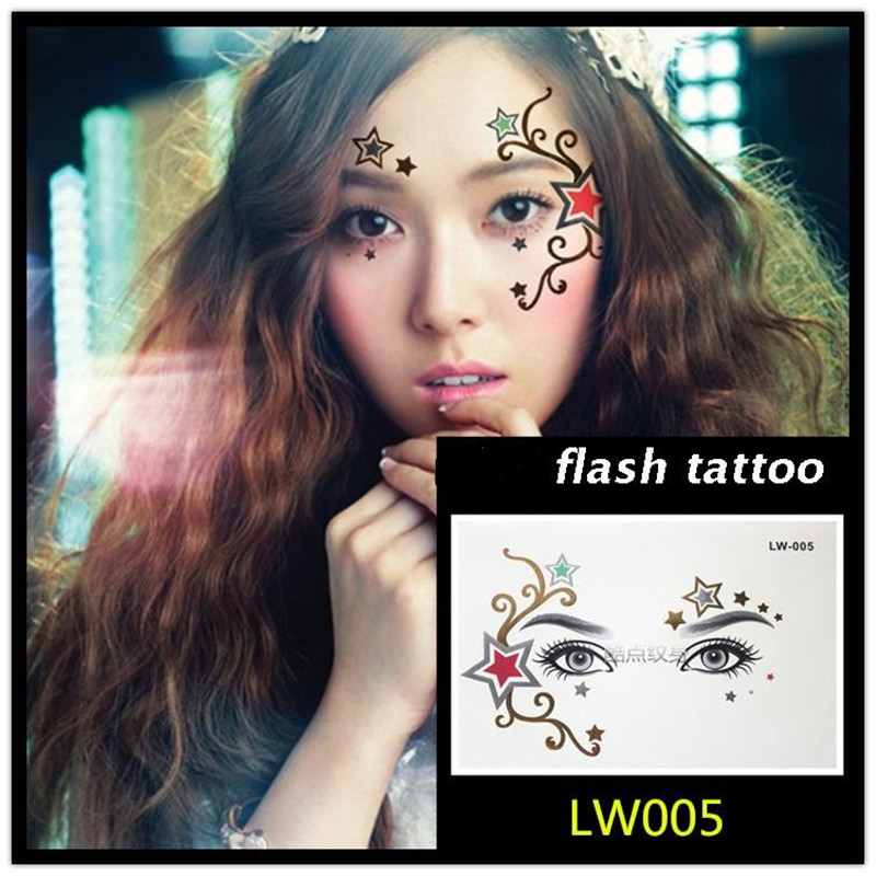 Hot sale Masquerade flash tattoo paste face temporary face stickers jewelry Arab India's large temporary tattoos makeup tattoo 7