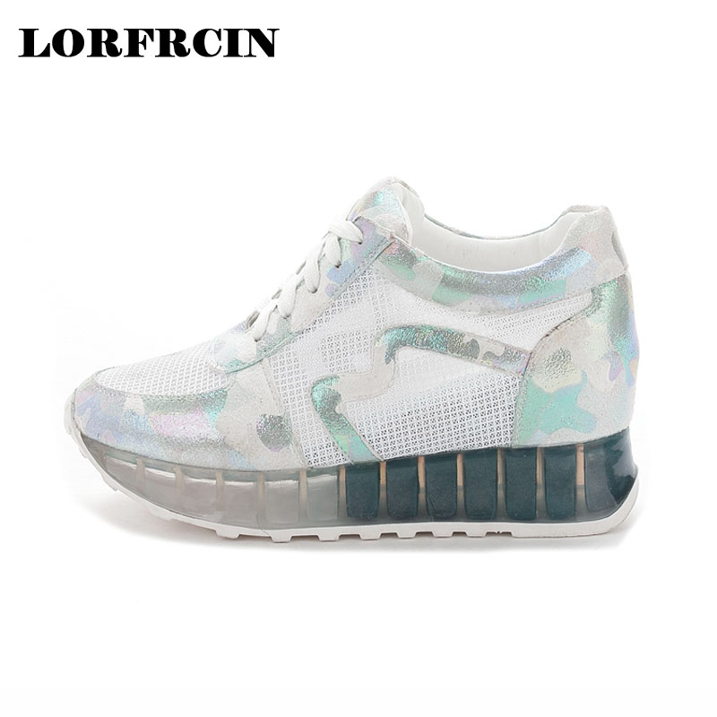 LORFRCIN Spring Summer Shoes Woman Lace Up Womens Casual Shoes Hidden Heel Wedges Shoes for Women Breathable Wedges Shoes<br>