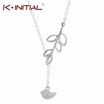 1Pcs Hot Fashion 925 Silver Jewelry Leaves Bird Pendant Statement Necklace Animal Birds Chokers Necklaces for Women Bijoux Gift