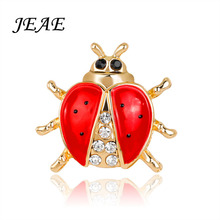 JEAE 2017 Fashion Animal Rhinestone Ladybug Brooch For Women Jewelry Hats Scarf Clips Accessories Women Men Boutonniere Brooches(China)