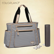 Colorland Black White Stripes Baby Diaper Bag Organizer Fashion Mummy Maternity Bag Travel Messenger Changing Nappy Bags Handbag