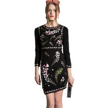 2017 Spring Arrival Women's Irregular Hem Floral Embroidery Slim Mini Dress Black Color O-neck Runway Dresses
