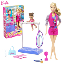 Original Barbie Gymnastics Coach Doll Barbie Girl Toys Gift Box Set Best Gift For Birthday Christmas Juguetes DKJ21(China)