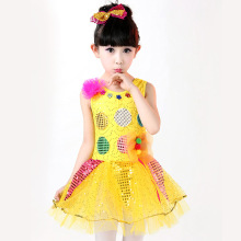 Christmas Baby Girls Shiny Sequined Dress Lovely Flower Children Birthday Party Princess Dress Festival Girls Modern Dance Dress(China)