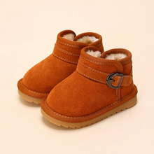 2016 Solid Boys Girls Leather Boots Classic Brand Design Kids Baby Snow Boots Anti-skid Platform Toddler Girl Boots 8 Colors