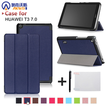 Ultra slim thin magnetic PU leather cover case for Huawei MediaPad T3 7.0 BG2-W09 tablet for Honor Play Pad 2 7.0 +free gift(China)