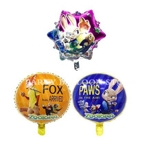 1pc Cartoon Judy Nick Zootopia Foil Balloons Helium Zootropolies Foil Balloon Kid's Birthday Party Decor toys rabbit  fox animal