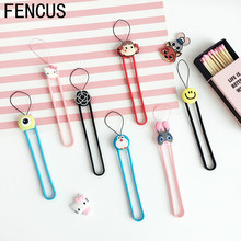 FENCUS Cute Cartoon Soft Silicone wrist hand cell phone mobile chain straps keychain Charm Cords DIY Hang Rope Lariat Lanyard(China)