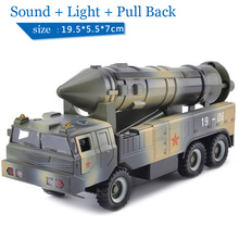 Children Lights & Sound 19-06 Missile Launch Vehicle 1:32 Diecast Car Military Model Toy Pull Back(China)