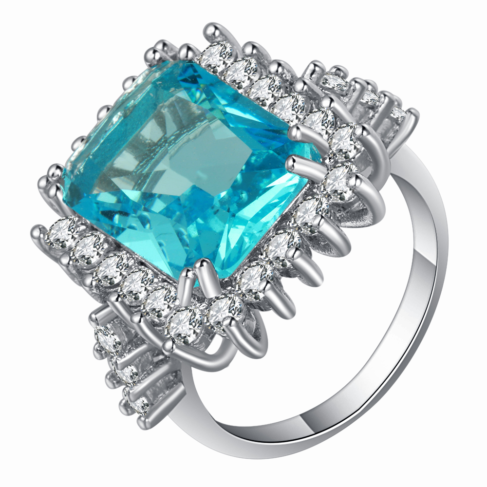 light blue Finger Rings with AAA Cubic Zircon High Quality Shiny Goddness Bridal Gift Women Fashion Jewelry(China (Mainland))