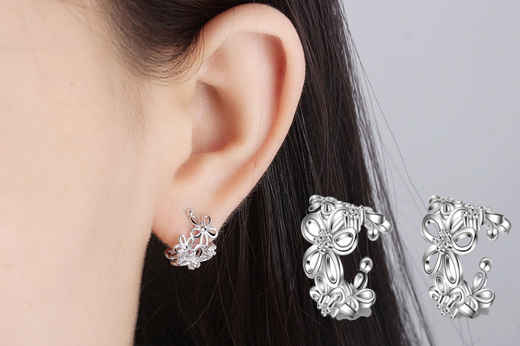 RUOYE 2017 Fashion Women Earring Clip Rose Flower Design Silver Plated Rose Gold Earring Women Gold Color Ear Jewelry