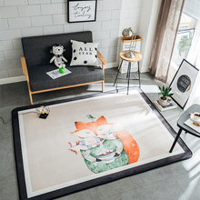 100% Polyester Flannel Cartoon Mats For Living Room Multi-size Home Decoration Fox Girls Carpet Anti-slip Soft Mats/Rugs