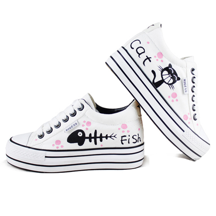 AMYMM New Childrens Hand-painted Cartoon Fish and Cat Girls Increased Canvas Shoes Popular Platform Shoes Size 35-40<br>