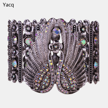 YACQ Angel Wings Stretch Cuff Bracelet for Women Biker Crystal Punk Jewelry Gift Antique Silver Color Wholesale Dropshipping D05(China)