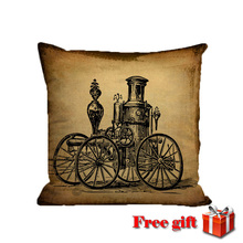 vintage punk steam age throw pillow decor ballon phone radio linen covers cushion cases  for sofa chair home living room