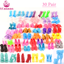 Ucanaan Random Pick 30 Pair Shoes Fashion Colorful Accessories Shoes Heels Sandals for Barbie doll Gift Girl Baby Toys(China)