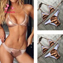 NIDALEE 2017 New Gold Metallic Bikini Brazilian Sexy Padded Push-Up Swimsuit Women Swimwear Female Beach Bathing Suits Plavky