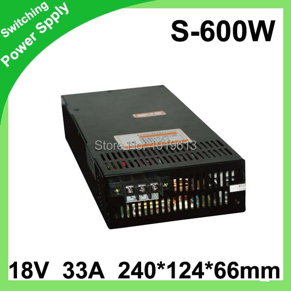 1pcs 18V 33A 600w Switching led Power Supply non-waterproof led driver for indoor for 3528/5050 LED strips<br>
