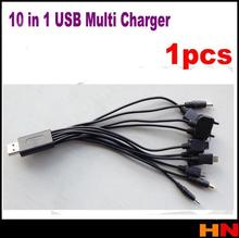 1pcs new 10 in 1 universal usb cables for iphone for mobile phones multi charger line For Samsung HTC Blackberry
