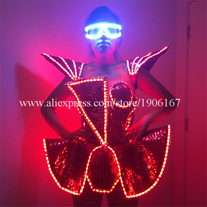 LED Lady Sexy Clothing Luminous Flashing Women Dress Costumes Suits Party Dance Accessories Event Party Supplies1